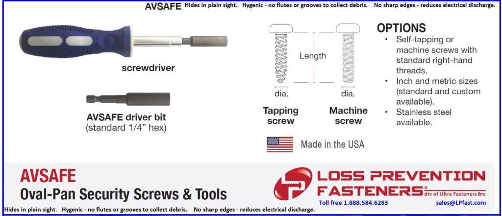 Avsafe security screws