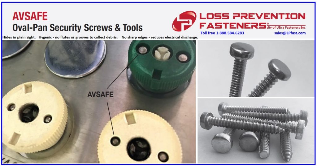hygienic avsafe security screws